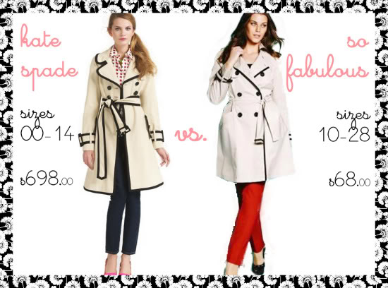 Kate Spade Topliner trench coat and plus size alternative