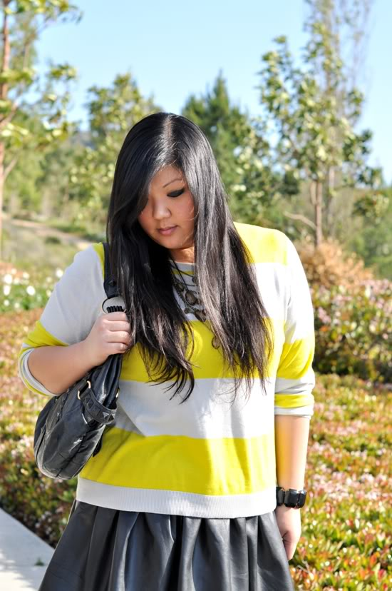plus size neon and leather skirt outfit