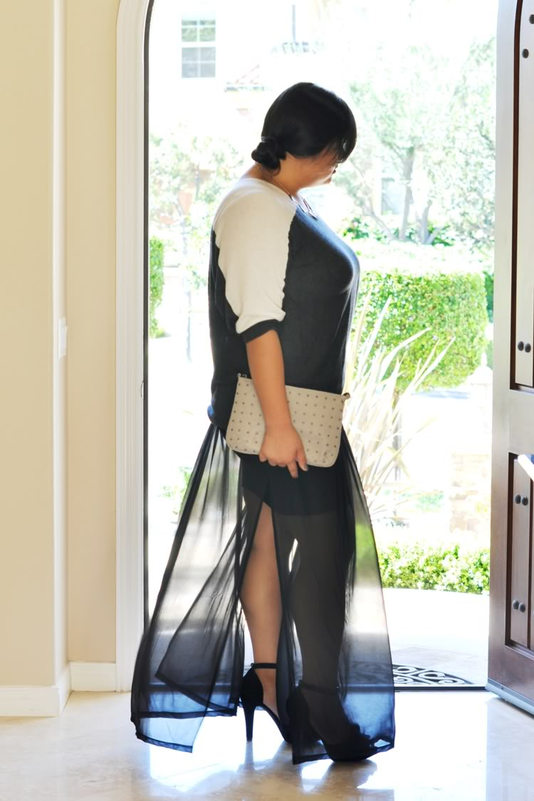 Curvy Girl Chic Plus Size Fashion Blog Sheer Maxi Skirt Outfit