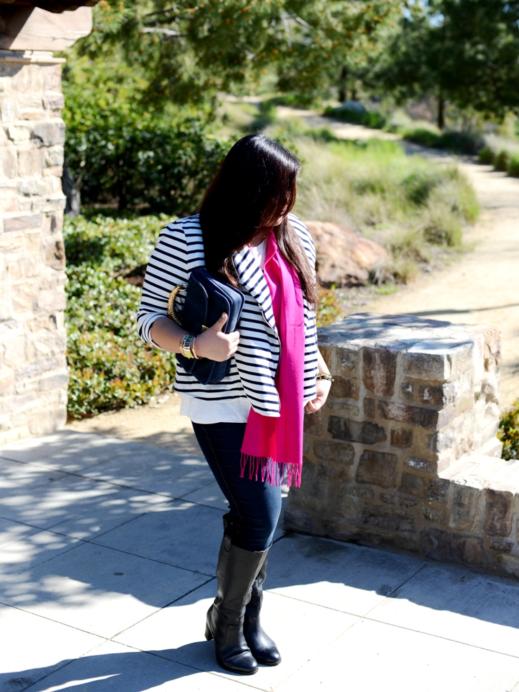 Curvy Girl Chic Plus Size Fashion Blog - OOTD striped moto jacket