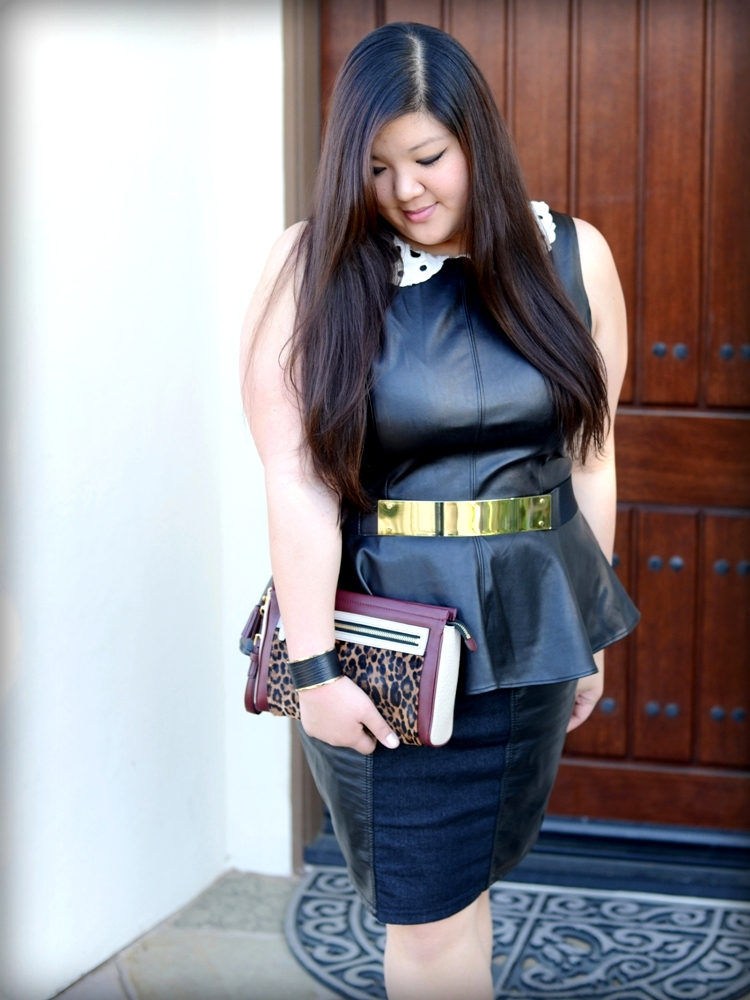 Curvy Girl Chic Plus Size Fashion Blog Leather on Leather Outfit