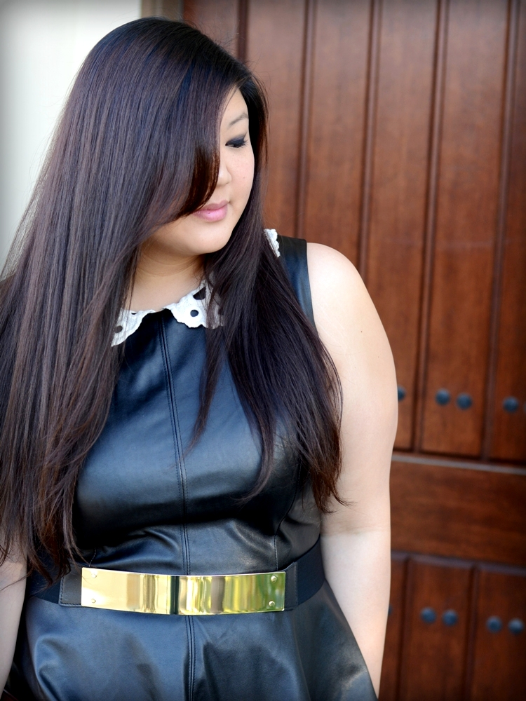 Curvy Girl Chic Plus Size Fashion Blog Leather on Leather Outfit - Rachel Pally White Label Metal Belt