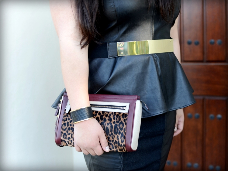 Curvy Girl Chic Plus Size Fashion Blog Leather on Leather Outfit - Coach Legacy Ocelot Clutch