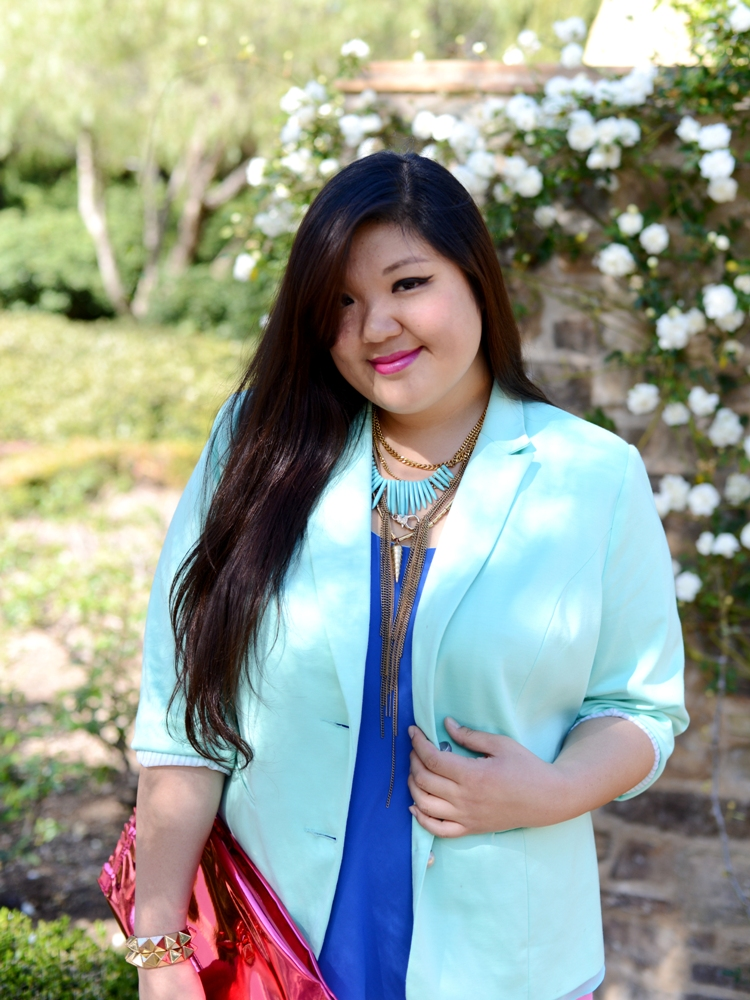 Curvy Girl Chic Plus Size Fashion Blog Simply Be Mint Blazer