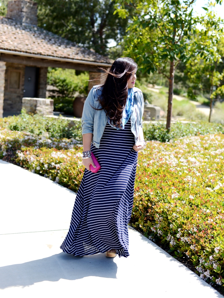 Curvy Girl Chic Plus Size Fashion Blog Striped Maxi Outfit