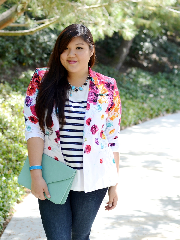 Curvy Girl Chic Plus Size Fashion Blog - Prabal Gurung Blazer Torrid Stiletto Jeans Outfit