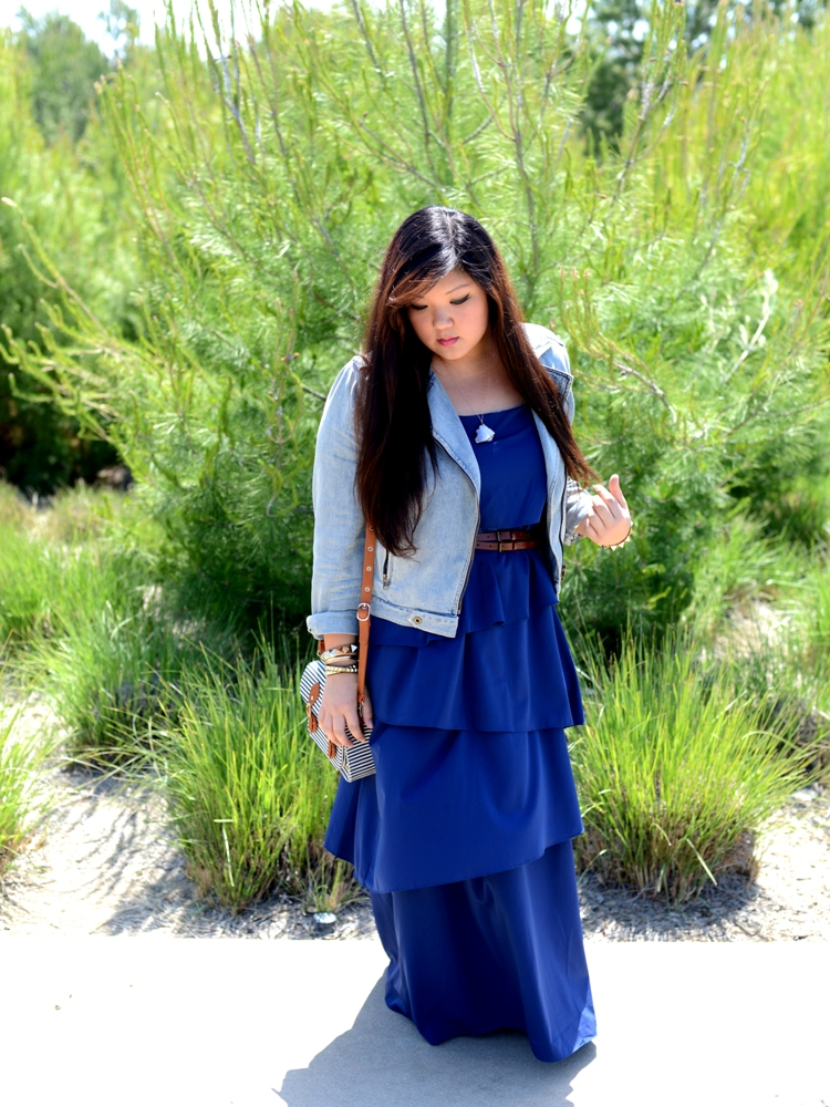 Curvy Girl Chic Plus Size Fashion Blog Denim Jacket and Maxi Look