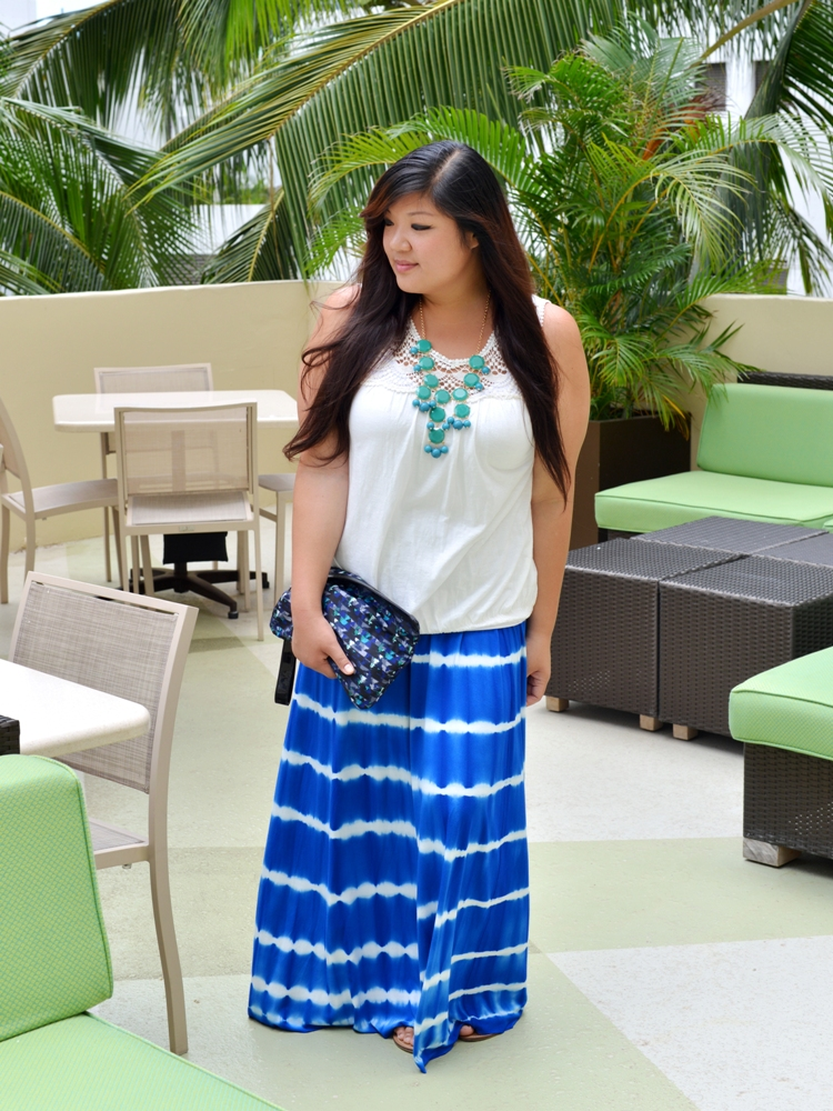 Curvy Girl Chic Plus Size Fashion Blog | Beach Chic with Thread and Butter Tie Dye Skirt