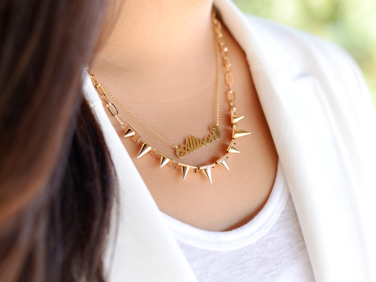 Curvy Girl Chic Plus Size Fashion Blog Carrie Necklace and Spike Necklace