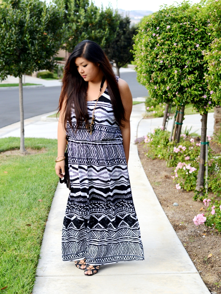 Curvy Girl Chic Plus Size Fashion Blog - Wet Seal Tribal Maxi Dress