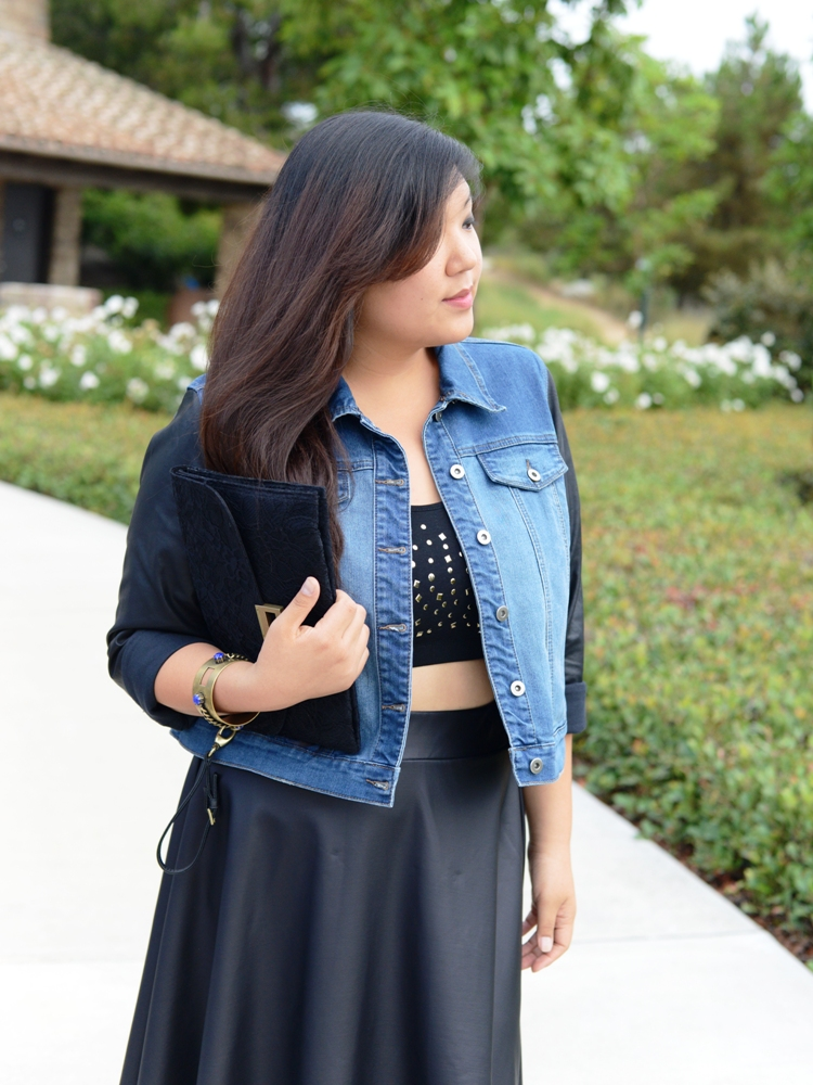 Curvy Girl Chic Plus Size Fashion Blog - Skater Skirt and Crop Top