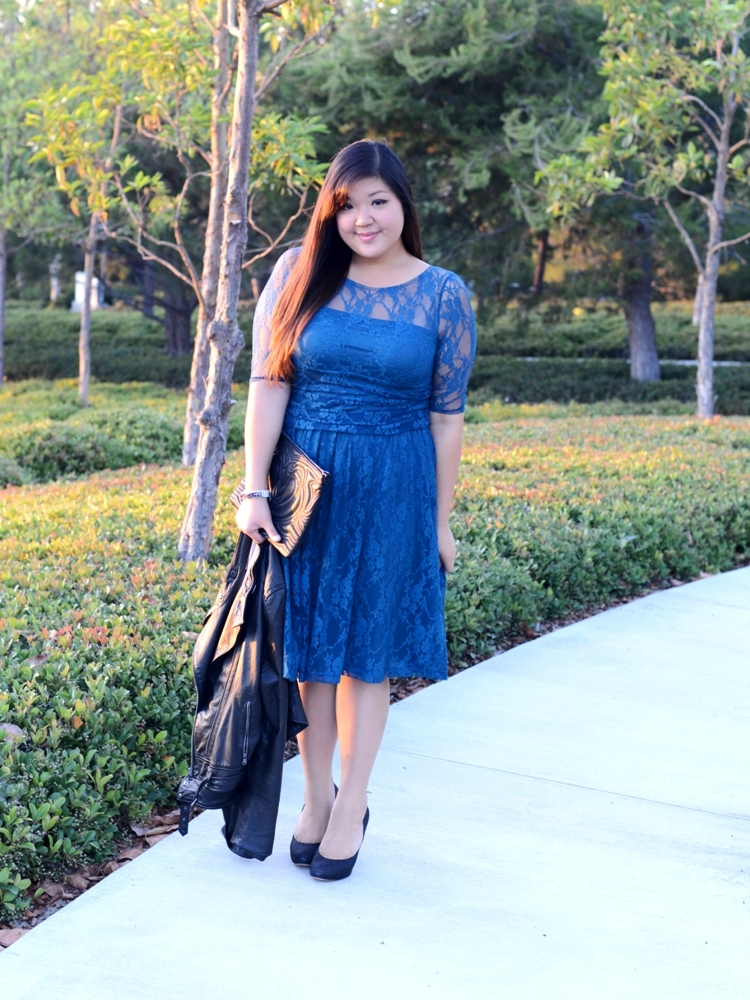 Curvy Girl Chic Plus Size Fashion Blog - Leather and Lace Outfit - Kiyonna Luna Lace Dress