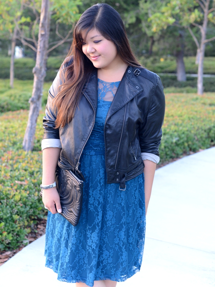 Curvy Girl Chic Plus Size Fashion Blog - Leather and Lace Outfit - Gap Moto Jacket