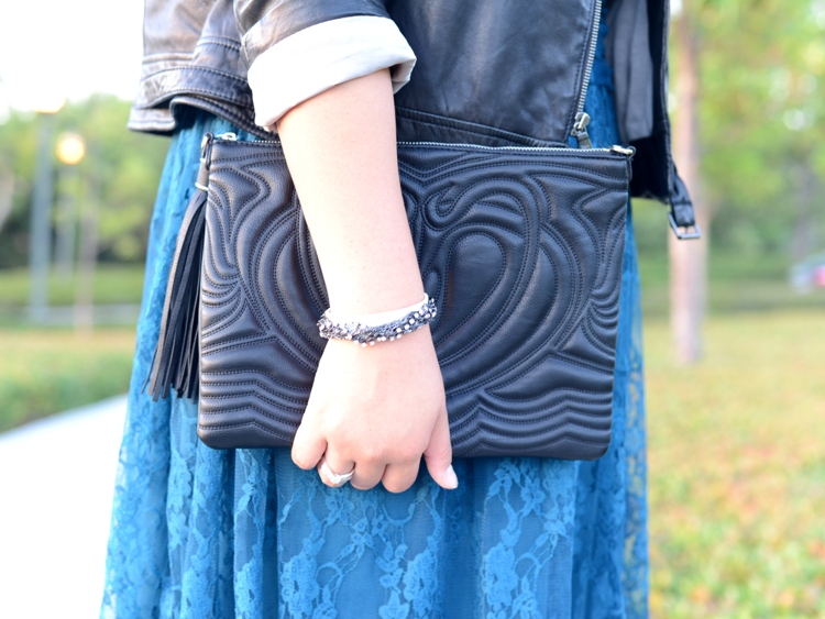 Curvy Girl Chic Plus Size Fashion Blog - Leather and Lace Outfit - H&M Quilted Clutch