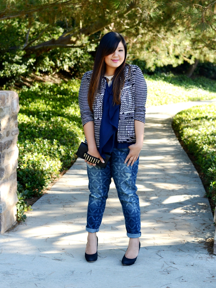 Curvy Girl Chic Plus Size Fashion Blog Printed Boyfriend Jeans