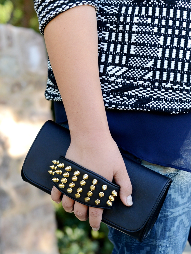 Curvy Girl Chic Plus Size Fashion Blog Hearts Spiked Vegan Clutch