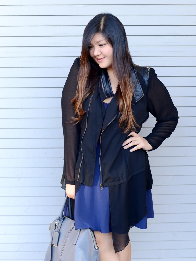 Curvy Girl Chic Plus Size Fashion Blog Sonsi Boost Your CQ City Chic Super Stud Jacket
