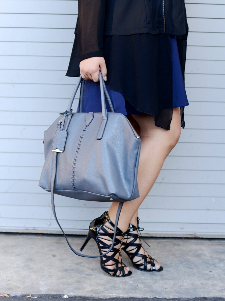 Curvy Girl Chic Plus Size Fashion Blog Sonsi Boost Your CQ Phillip Lim for Target Grey Braid Bag Satchel