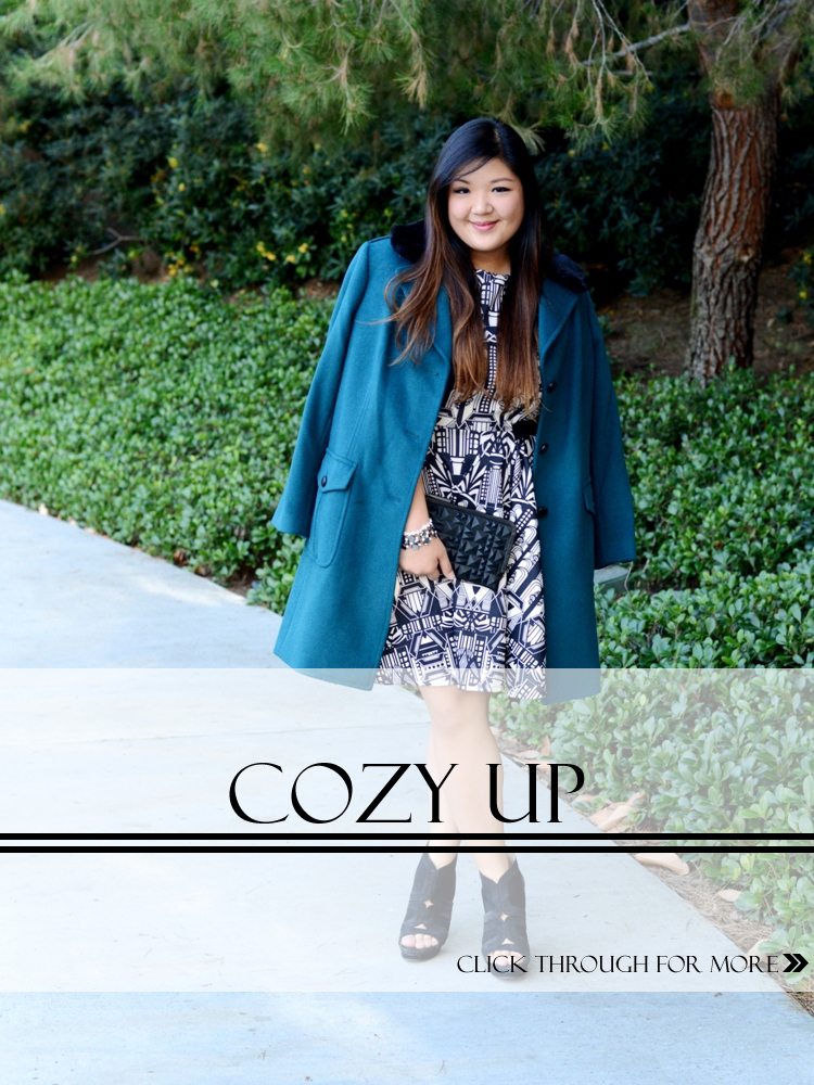 Curvy Girl Chic Plus Size Fashion Blog Talbots teal coat with black fur collar and ASOS art deco print dress