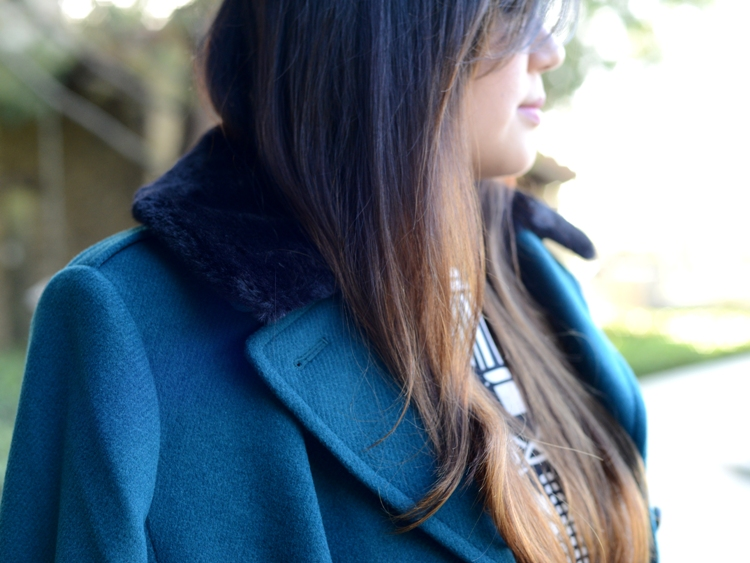 Curvy Girl Chic Plus Size Fashion Blog Talbots teal coat with black fur collar and ASOS art deco print dresst