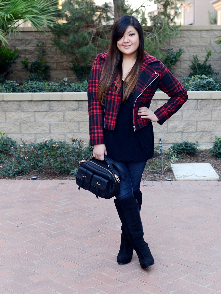 Curvy Girl Chic Plus Size Fashion Blog Wet Seal Tartan Moto Outfit