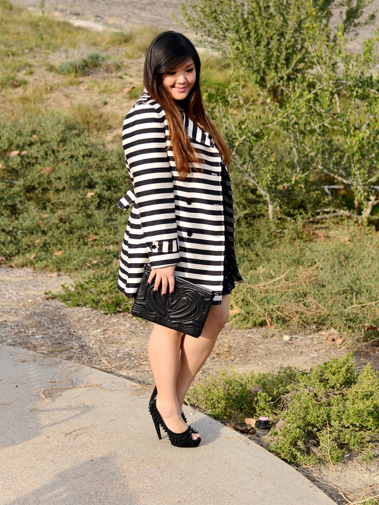 Curvy Girl Chic Plus Size Fashion Blog Banana Republic Striped Trench and Star Print Dress
