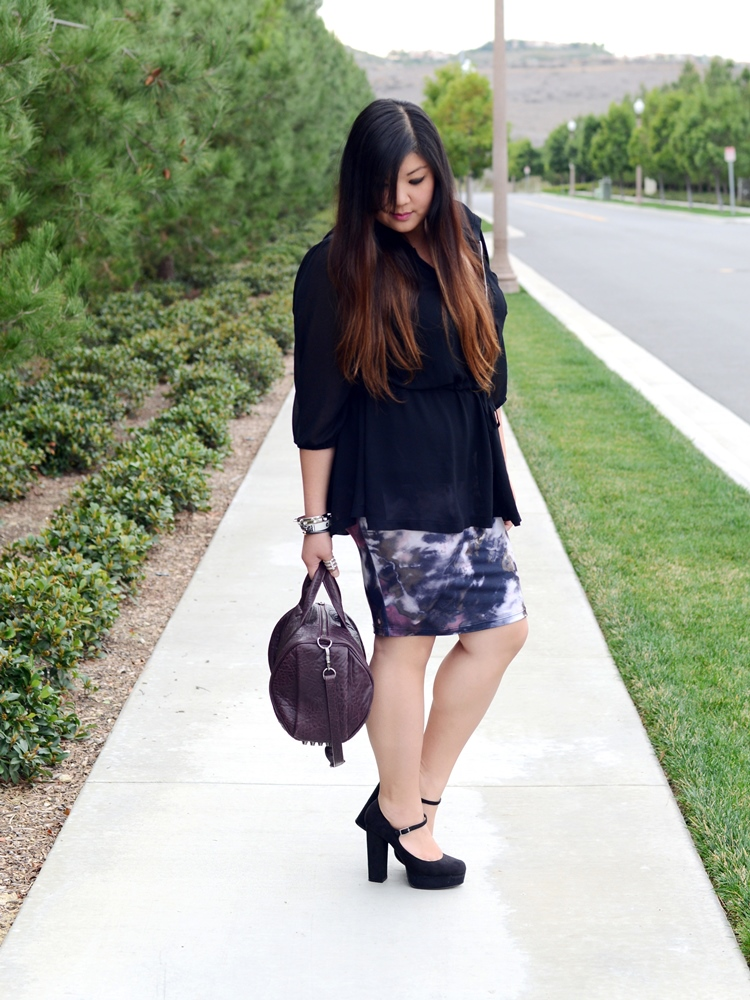 Curvy Girl Chic Plus Size Fashion Blog Living Doll LA Tye Dye Skirt