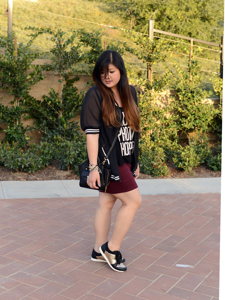 Curvy Girl Chic Plus Size Fashion Blog Living Doll LA Baseball Jacket