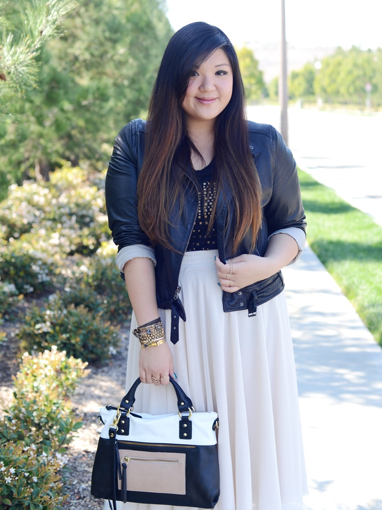 Curvy Girl Chic Plus Size Fashion Blog Tulle Skirt and Leather Moto Outfit with Pietro Alessandro Bag
