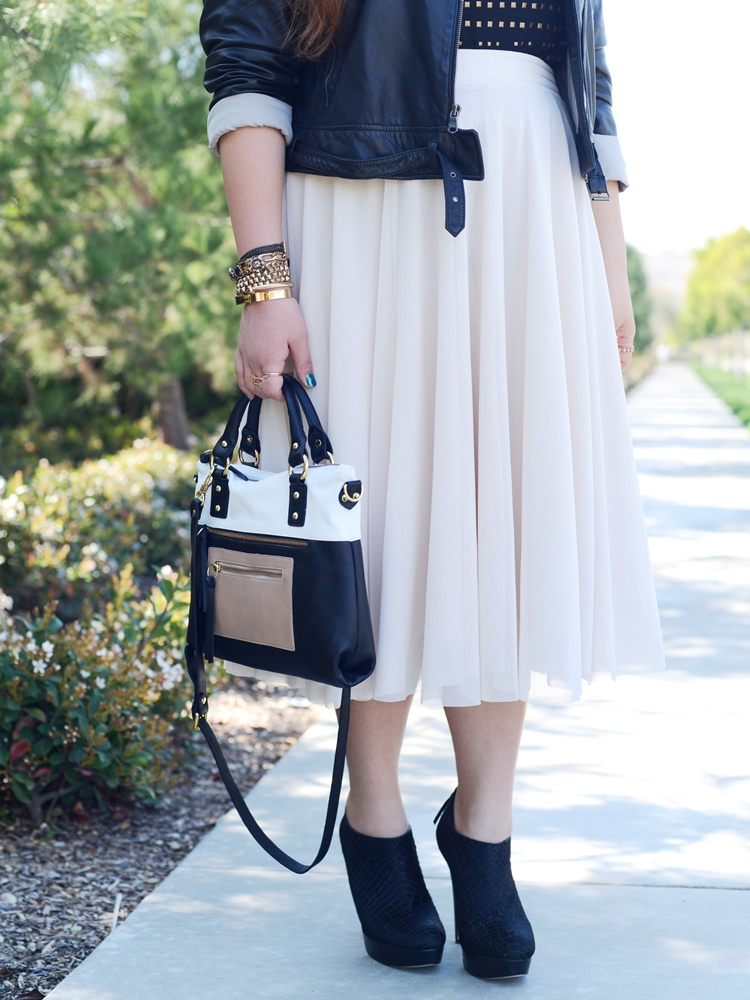 Curvy Girl Chic Plus Size Fashion Blog Pink Tulle Midi Skirt and Pietro Alessandro Chloe Bag