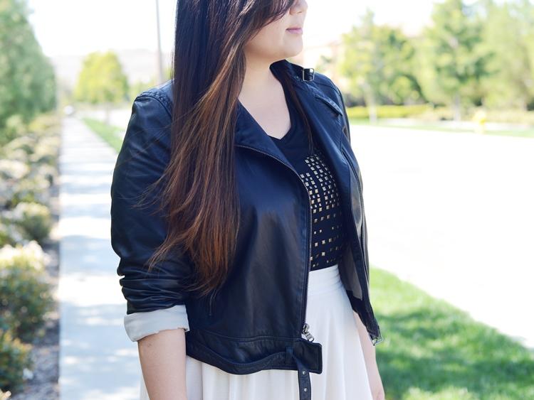 Curvy Girl Chic Plus Size Fashion Blog Umgee USA Studded Top and Gap Leather Moto Jacket