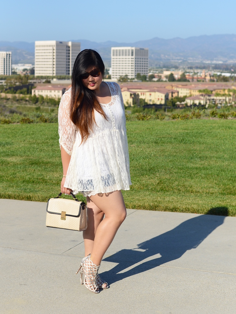 Curvy Girl Chic Plus Size Fashion Blog Lace on Lace Outfit - Simply Be Lace Trimmed Denim Shorts
