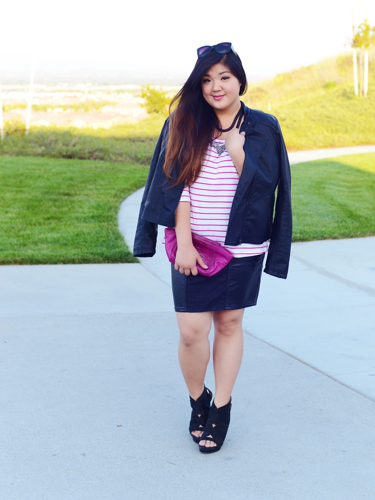 Curvy Girl Chic Plus Size Fashion Blog Leather Moto and Skirt with Stripes and Pink