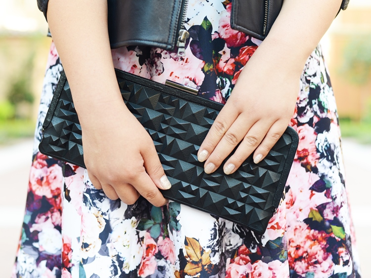 Curvy Girl Chic Plus Size Fashion Blog Fall Florals Kenneth Cole Studded Clutch