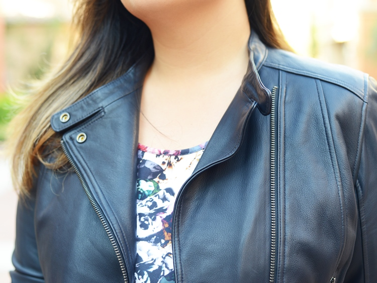 Curvy Girl Chic Plus Size Fashion Blog Fall Florals Gap Navy Leather Moto Jacket