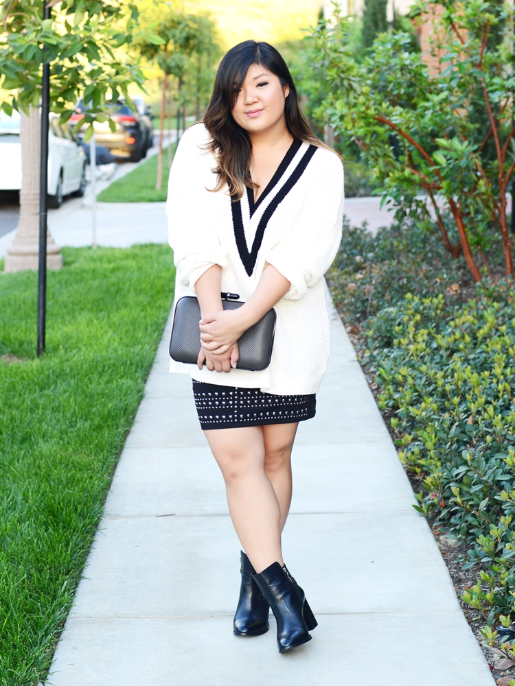 Curvy Girl Chic Plus Size Fashion Blog Chunky Sweater Studded Skirt Outfit