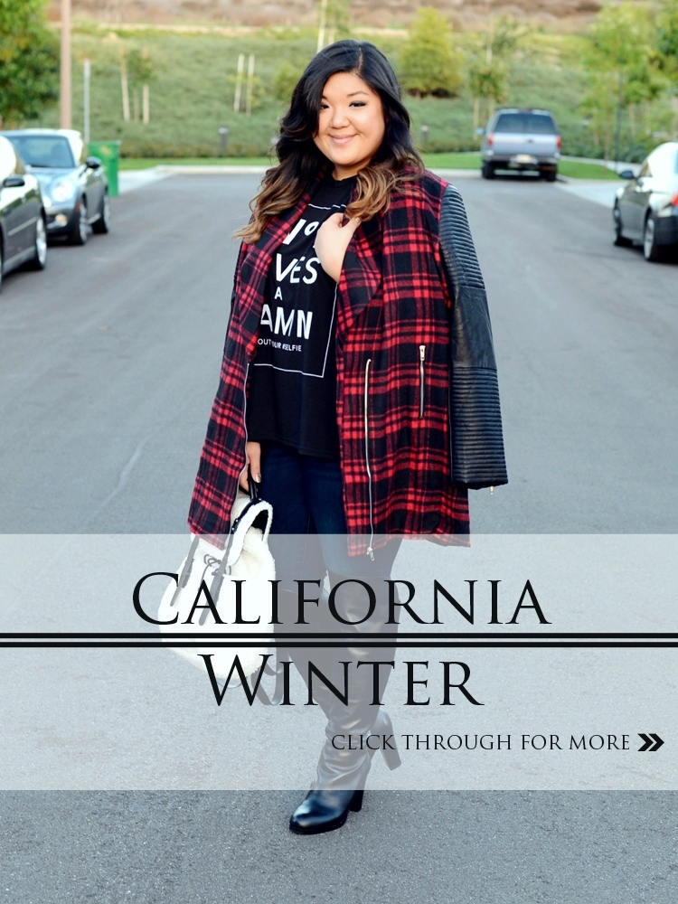 Curvy Girl Chic Plus Size Fashion Blog Outfit Missguided+ Plaid Coat Wide Calf Over the Knee Boots