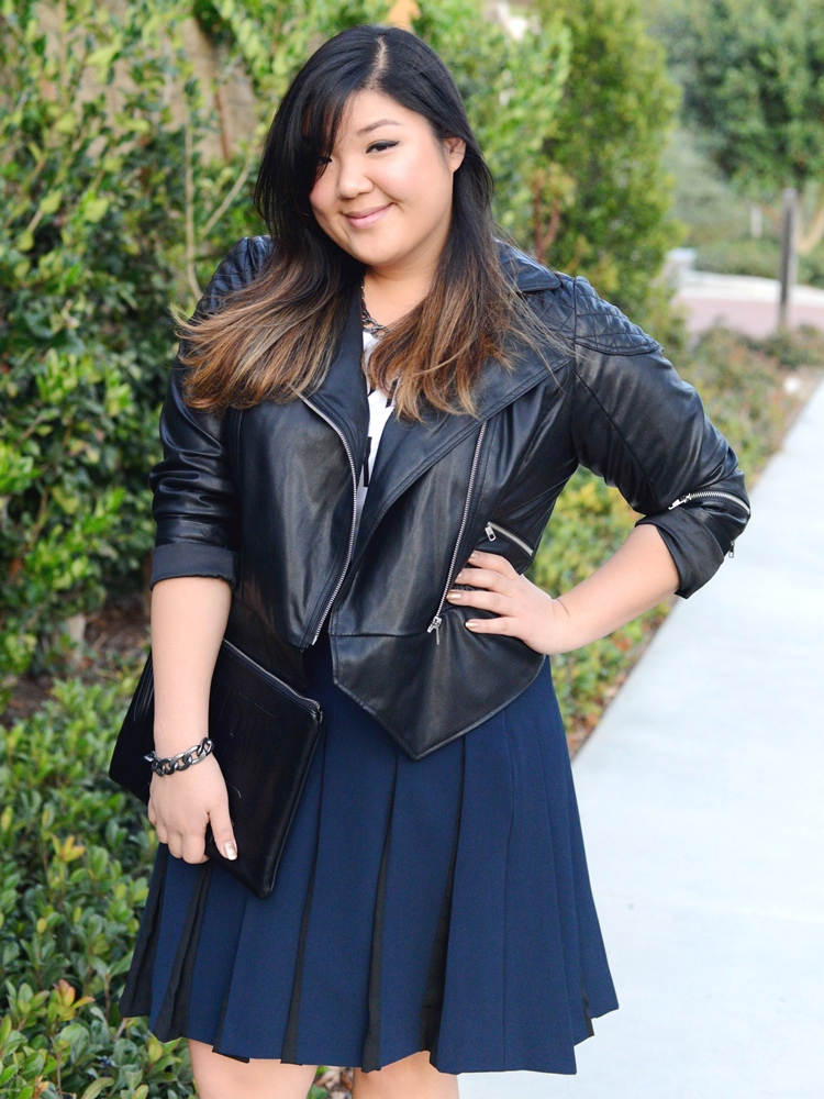 Curvy Girl Chic Plus Size Fashion Blog MYNT1792 Leather Jacket Navy Pleated Skirt