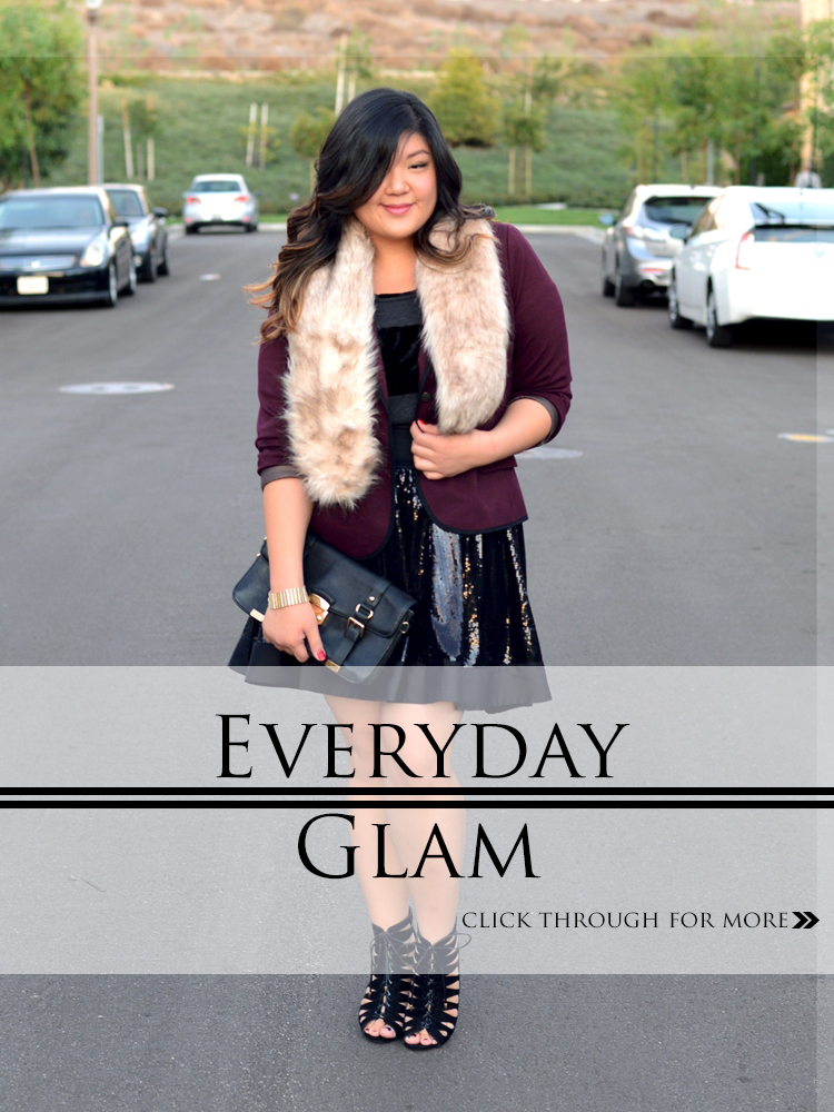 Curvy Girl Chic Plus Size Fashion Blog Everyday Glam Outfit Idea Faux Fur Stole and Sequin Skirt