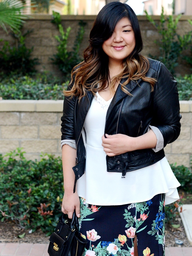 Curvy Girl Chic Plus Size Fashion Blog Floral Skirt Leather Jacket Winter Outfit Idea