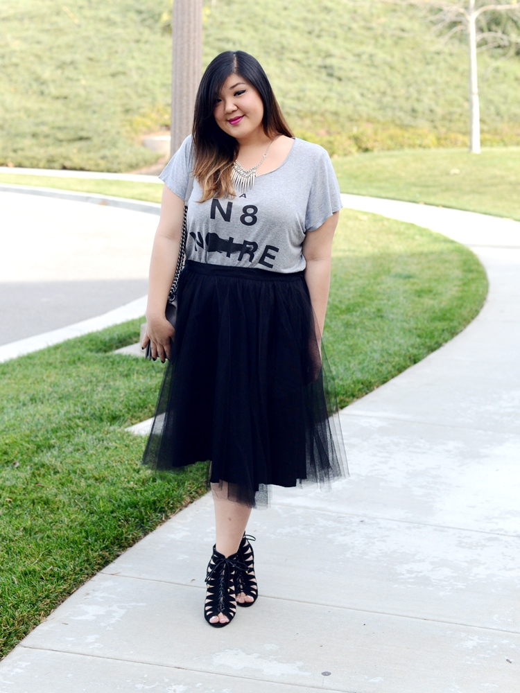 Curvy Girl Chic Plus Size Fashion Blog The Girl That Loves tulle skirt Chanel Boy Bag
