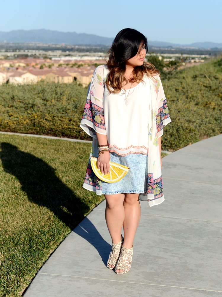 Curvy Girl Chic Plus Size Fashion Blog Charlotte Russe Plus Launch Kimono and Denim Skater Skirt