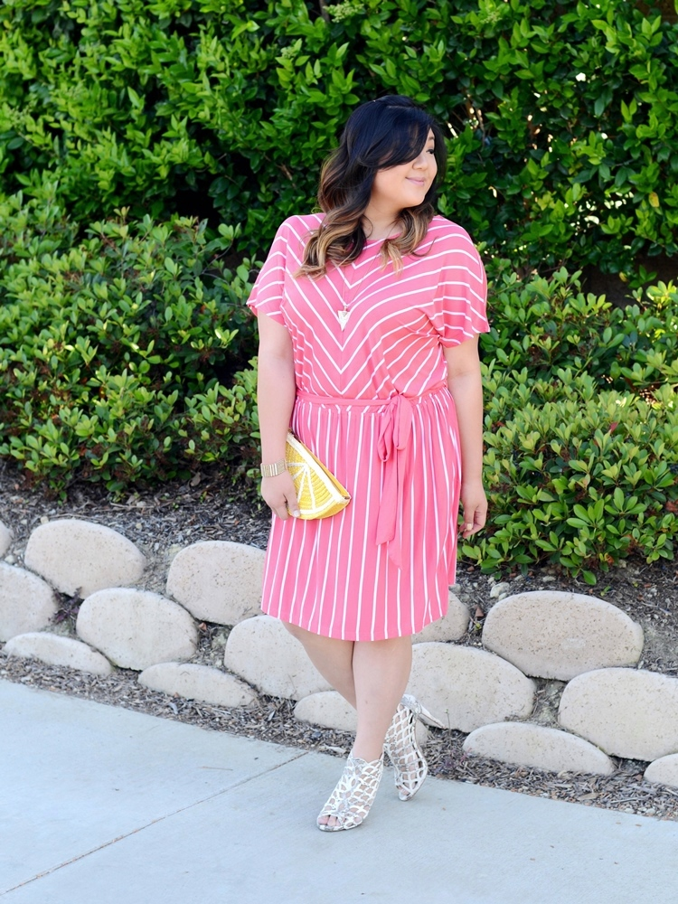 Curvy Girl Chic Plus Size Fashion Blog Target Ava and Viv Striped Outfit Ideas Coral Striped Dress