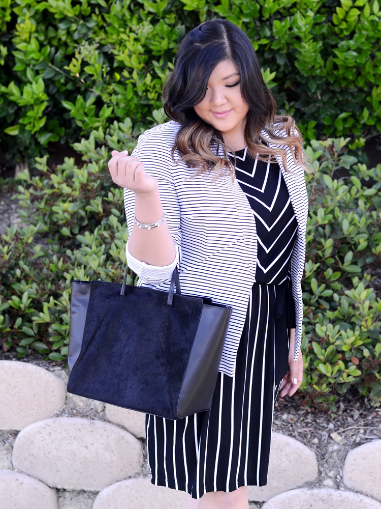 Curvy Girl Chic Plus Size Fashion Blog Target Ava and Viv Striped Outfit Ideas Black and White Striped Dress and Blazer