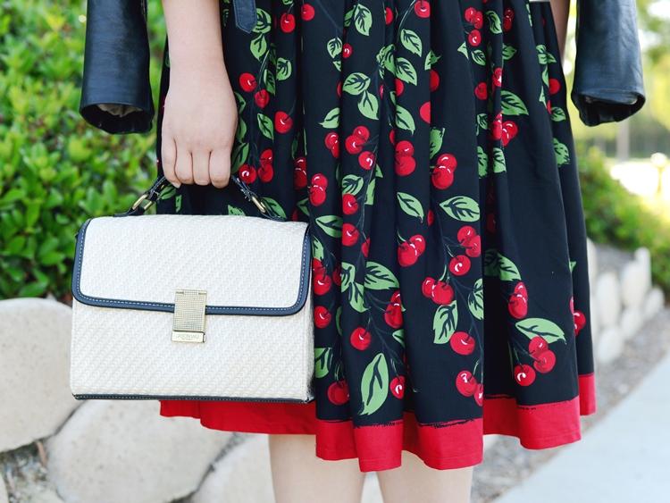 Curvy Girl Chic Plus Size Fashion Blog Pinup Girl Clothing Cherry Midi Dress Jason Wu Target Straw Satchel