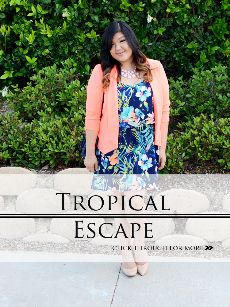 Curvy girl Chic Plus Size Fashion Blog Charlotte Russe Plus Size Junior Clothing Tropical Print Dress