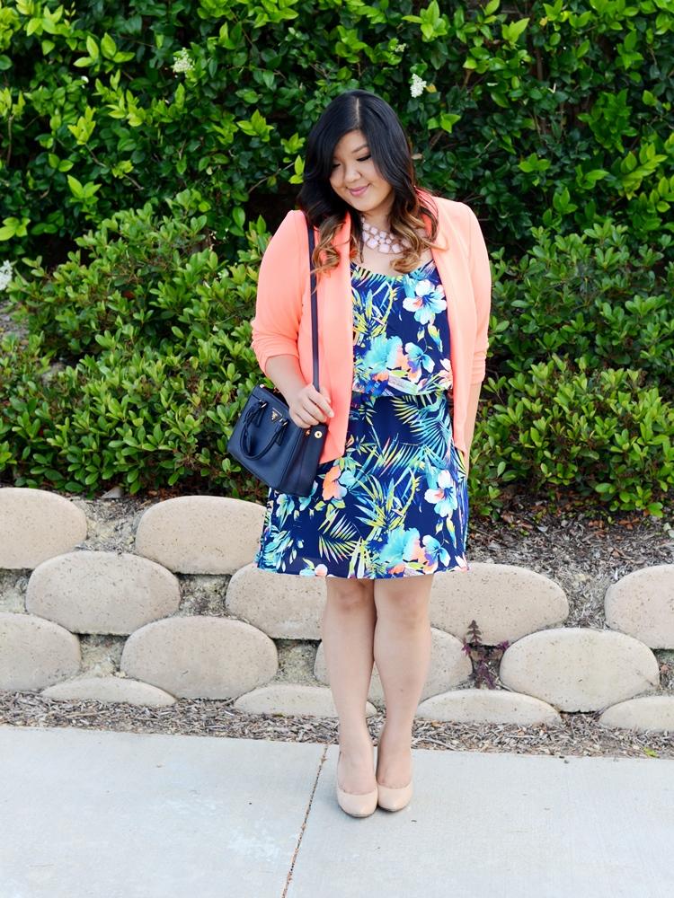 Curvy girl Chic Plus Size Fashion Blog Charlotte Russe Plus Size Junior Clothing Tropical Print Dress