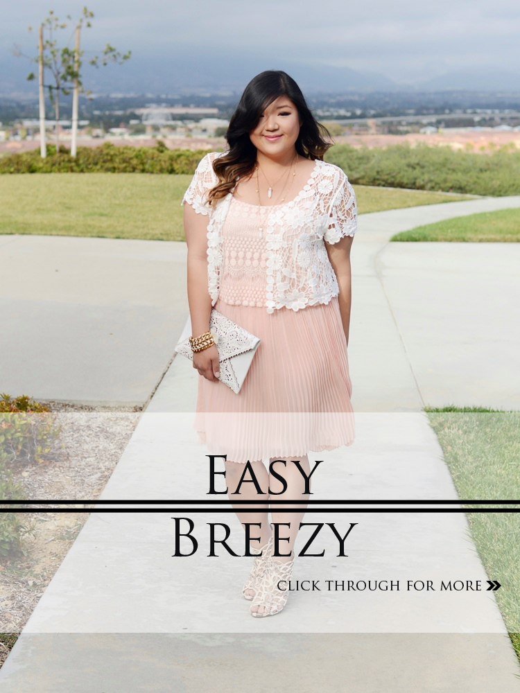 Curvy Girl Chic Plus Size Fashion Blog Charlotte Russe Plus Crochet Cardigan and Pink Pech Pleated Dress
