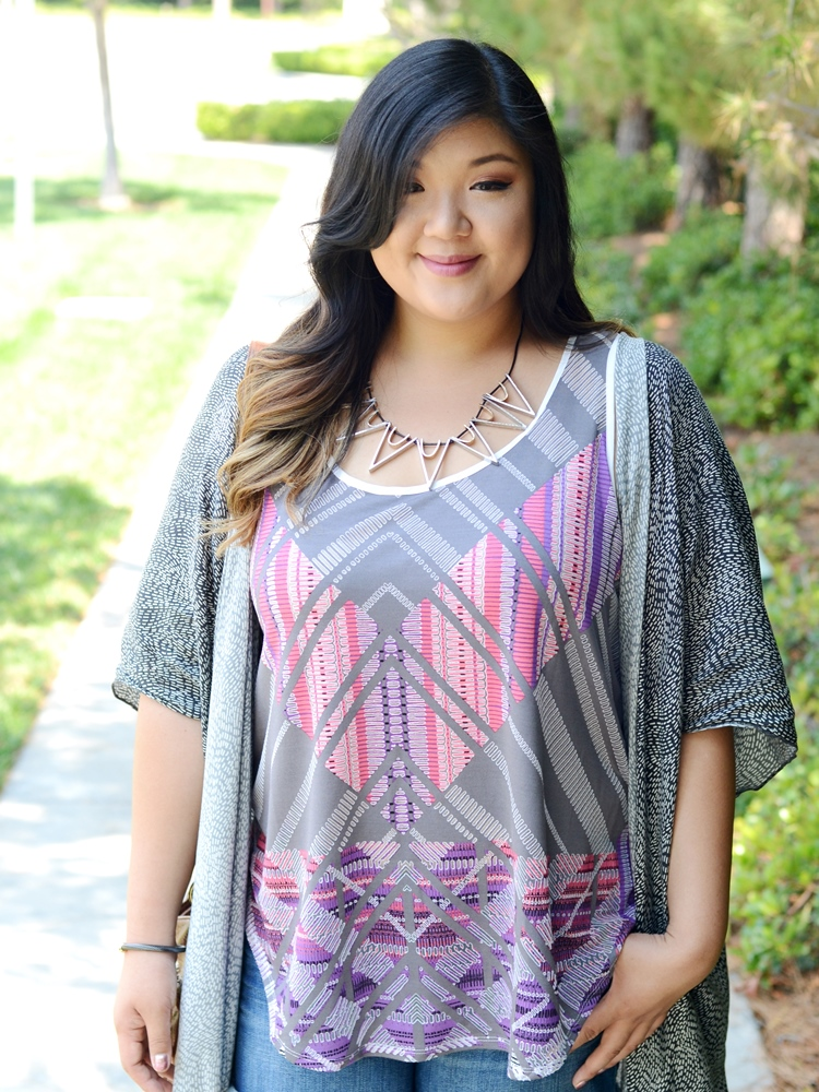 Curvy Girl Chic Target Ava & Viv Tribal Print Outfits Pink Grey Kimono Shorts