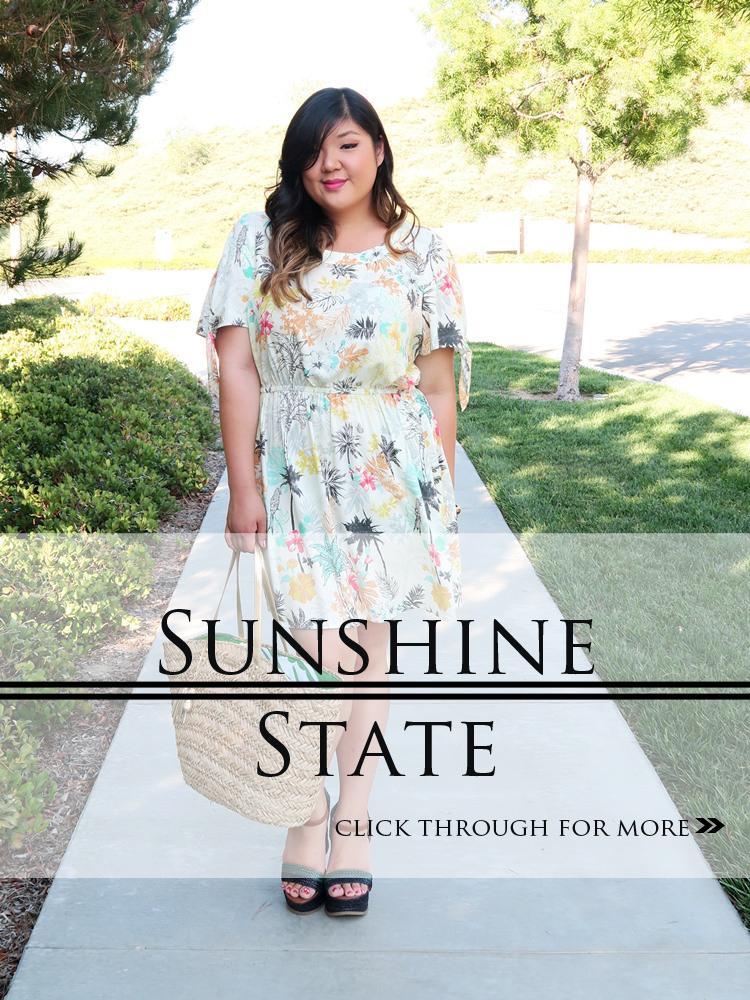 Curvy Girl Chic Plus Size Fashion Blog Yellow Palm Print Dress from Gwynnie Bee